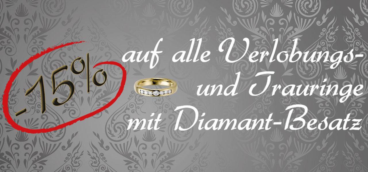 Aktuelle Aktion: 15% auf alle Verlobungs- und Trauringe mit Diamantbesatz